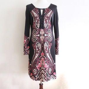 INC Black Pink Paisley Long Sleeve Shift Dress M